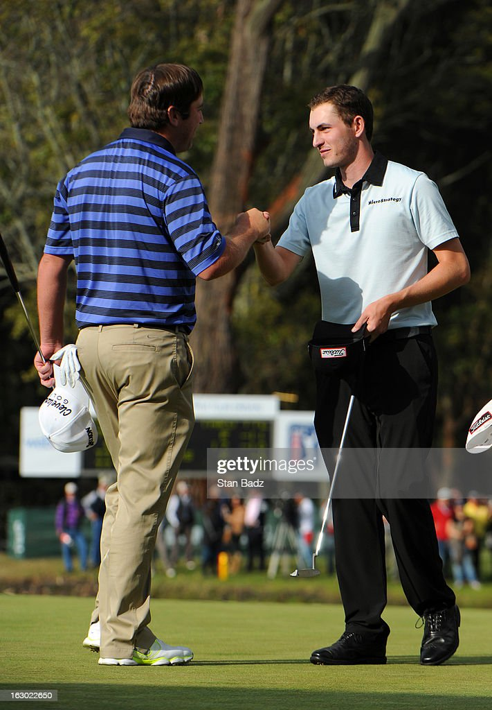 Jim Renner congratulates Patrick Cantlay on his win on the 18th green after the final round of the Colombia Championship at Country Club de Bogota on March 3, 2013 in Bogota, Colombia.