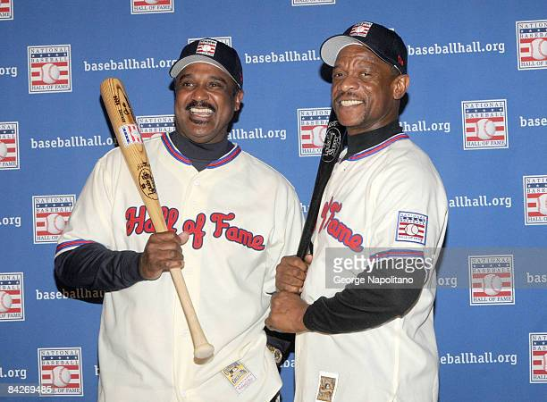 Jim Rice and Rickey Henderson attend a press conference for the Baseball Hall of Fame elections at the Waldorf=Astoria on January 13 2009 in New York...