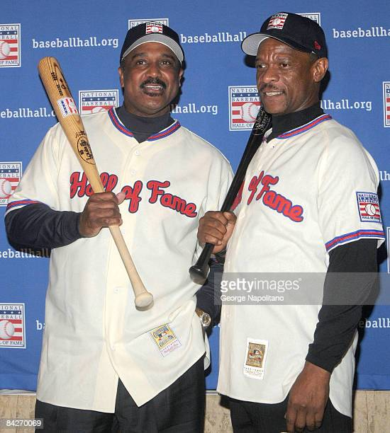 Jim Rice and Rickey Henderson attend a press conference for the Baseball Hall of Fame elections at the WaldorfAstoria on January 13 2009 in New York...