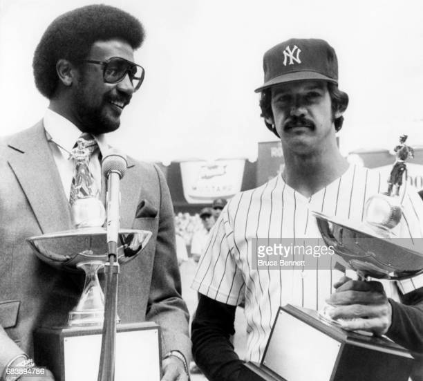 Jim Rice of the Boston Red Sox and pitcher Ron Guidry of the New York Yankees are presented the Joe Cronin award before Game 3 of the 1978 American...