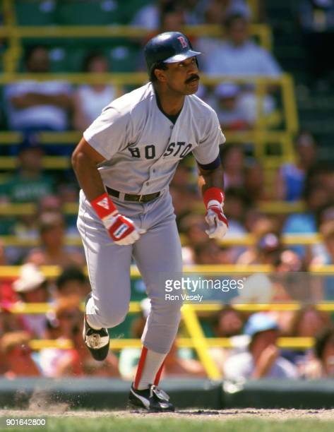 Jim Rice of the Boston Red Sox bats during an MLB game versus the Chicago White Sox at Comiskey Park in Chicago Illinois during the 1987 season
