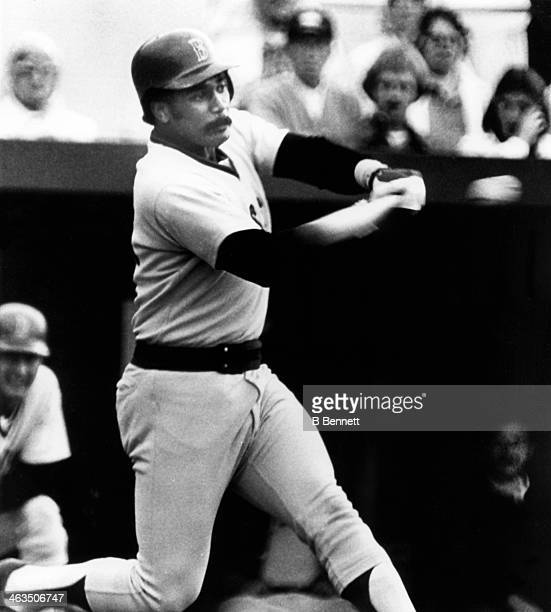 Jim Rice of the Boston Red Sox hits his first home run of the Grapefruit League during the spring training game against the Detroit Tigers on March 8...