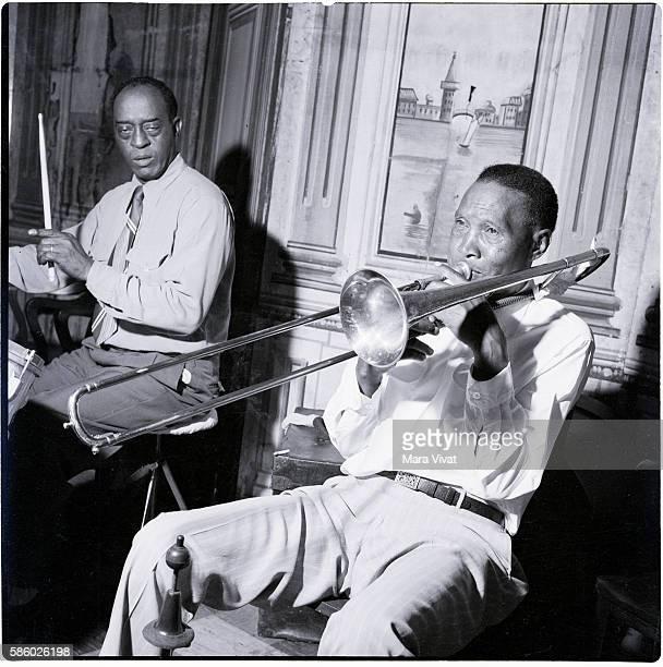 Jim Robinson on trombone and drummer Joe Watkins of the George Lewis Band
