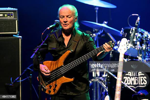 Jim Rodford of The Zombies performs at the Saban Theatre on October 24 2015 in Beverly Hills California