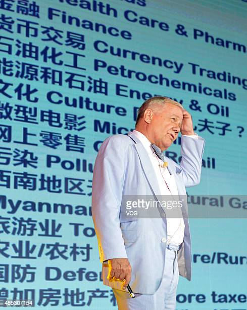 Jim Rogers, American businessman, investor and author, attends an economic forum on August 26, 2015 in Nanjing, Jiangsu Province of China.