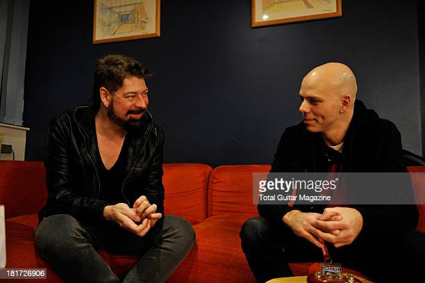 Jim Root and Josh Rand of American alternative metal band Stone Sour photographed during an interview for Total Guitar Magazine December 14 2012
