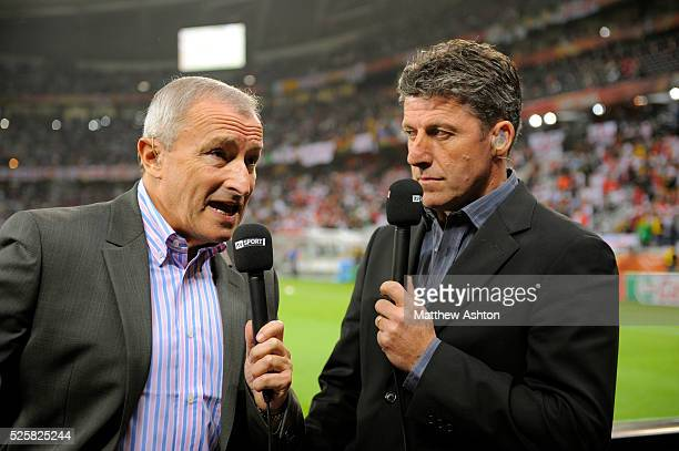 Jim Rosenthal and Andy Townsend present the ITV Sport World Cup show from pitchside