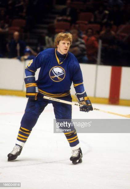 Jim Schoenfeld of the Buffalo Sabres skates on the ice during an NHL game against the New York Rangers on December 20 1978 at the Madison Square...