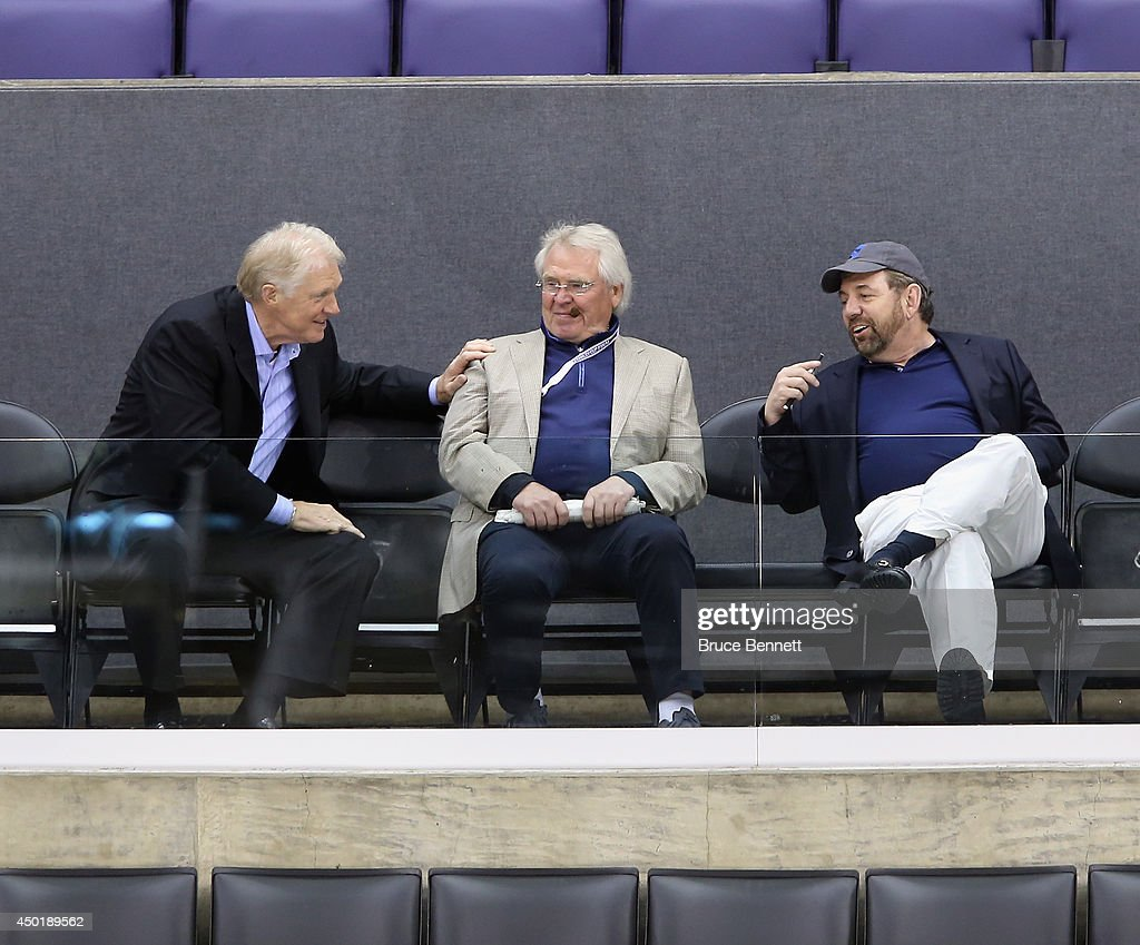 Jim Schoenfled, Glen Sather and James Dolan of the New York Rangers watch a practice session on an off day during the 2014 NHL Stanley Cup playoffs at Staples Center on June 6, 2014 in Los Angeles, California.