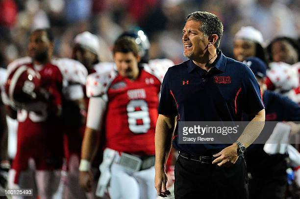Jim Schwartz head coach of the South squad argues an official's call during the Senior Bowl at Ladd Peebles Stadium on January 26 2013 in Mobile...