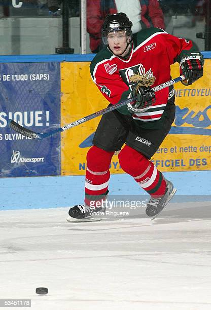 Jim Sharrow of the Halifax Mooseheads makes a pass during warm up prior to the Quebec Major Junior Hockey League game against Gatineau Olympiques at...