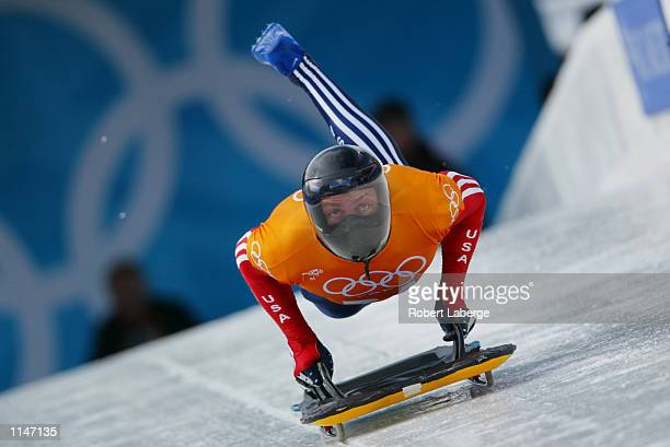 Jim Shea of the USA practices the men's skeleton during the Salt Lake City Winter Olympic Games on February 17, 2002 at the Utah Olympic Park in Park...