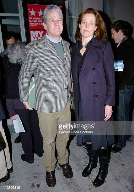 Jim Simpson and Sigourney Weaver during Opening Night of 'My Name is Rachel Corrie' Arrivals at The Minetta Lane Theatre in New York City New York...