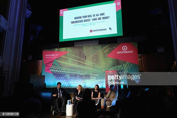 """Jim Sinocchi Tanya M Odom Laura Mather and Wade Davis speak onstage during the Braving Your Bias We All Have """"Unconscious Biases"""" What Are Yours..."""