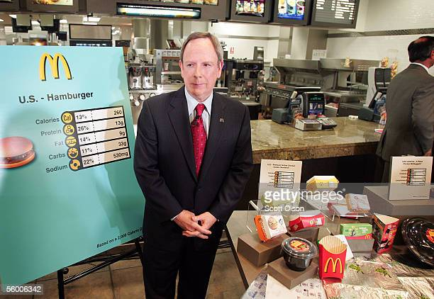 Jim Skinner Chief Executive Officer of McDonald's Corporation helps to introduce McDonald's new product packaging which features nutritional...