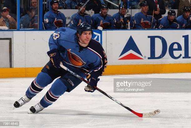 Jim Slater of the Atlanta Thrashers skates against the New York Rangers during game two of the 2007 Eastern Conference Quarterfinals on April 14 2007...