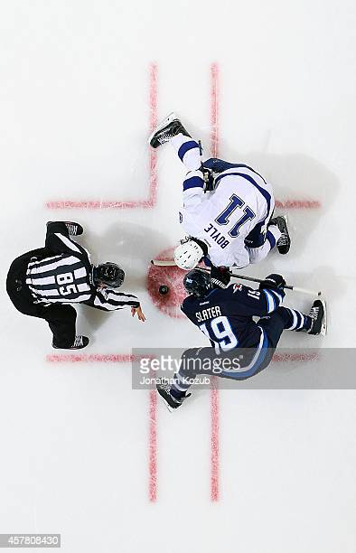 Jim Slater of the Winnipeg Jets takes a second period faceoff against Brian Boyle of the Tampa Bay Lightning on October 24 2014 at the MTS Centre in...