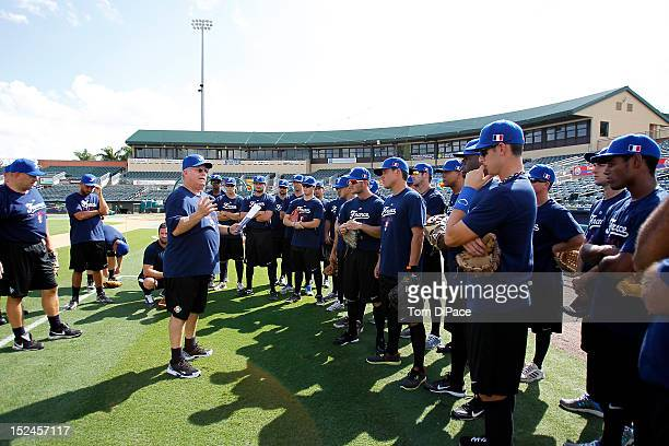 Jim Stocekel of Team France is seen talking to his team during the workout for the World Baseball Classic Qualifier at Roger Dean Stadium on...