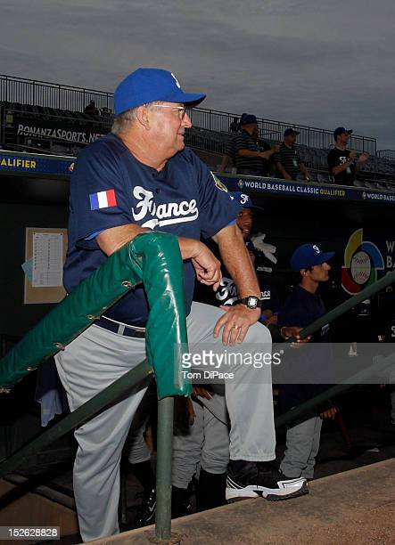 Jim Stoeckel manager of Team France looks on from the dugout before game 2 of the Qualifying Round of the 2013 World Baseball Classic at Roger Dean...