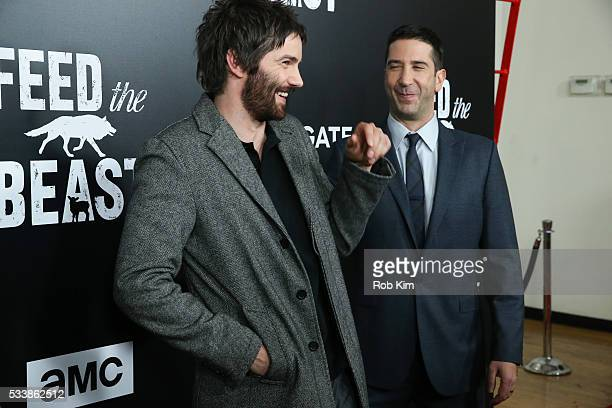 Jim Sturgess and David Schwimmer attend the New York Screening of 'Feed The Beast' at Angelika Film Center on May 23 2016 in New York City