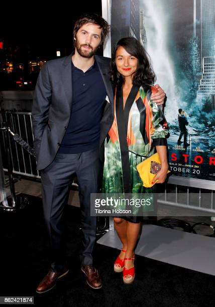 Jim Sturgess and Dina Mousawi attend the premiere of Warner Bros. Pictures 'Geostorm' at TCL Chinese Theatre on October 16, 2017 in Hollywood,...