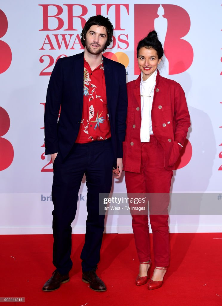 Jim Sturgess and guest attending the Brit Awards at the O2 Arena, London. PRESS ASSOCIATION Photo. Picture date: Wednesday February 21, 2018. See PA story SHOWBIZ Brits. Photo credit should read: Ian West/PA Wire