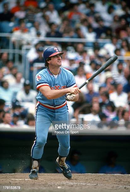 Jim Sundberg of the Texas Rangers bats against the New York Yankees during an Major League Baseball game circa 1982 at Yankee Stadium in the Bronx...