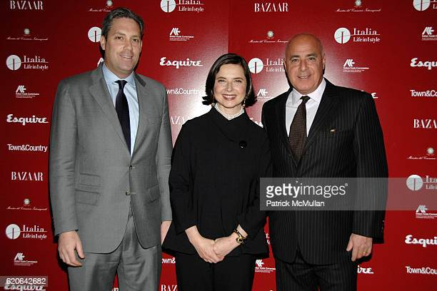 Jim Taylor Isabella Rossellini and Kevin Martinez attend The ITALIAN TRADE COMMISSION Made in Italy Cocktail Party with ISABELLA ROSSELLINI at Hearst...