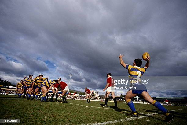 Jim Taylor of the ACT Brumbies prepares to throw the ball to the lineout against the British Lions on 4th July 1989 at the Seiffert Oval in Canberra...