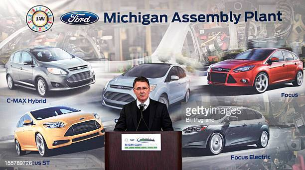 Jim Tetreault Vice President of Ford North America Manufacturing speaks an event celebrating the launch of the CMAX Energi plugin hybrid at the...