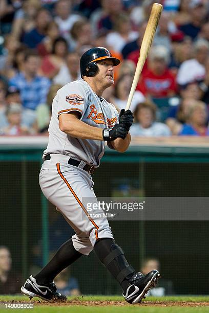Jim Thome of the Baltimore Orioles hits a tworun home run during the seventh inning against the Cleveland Indians at Progressive Field on July 21...
