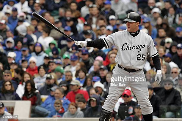 Jim Thome of the Chicago White Sox bats against the Chicago Cubs during interleague play on May 20 2007 at Wrigley Field in Chicago Illinois The...