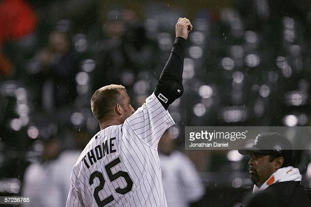 Jim Thome of the Chicago White Sox comes out of the dugout for a curtain call after his first home run of the season a tworun shot in the fourth...