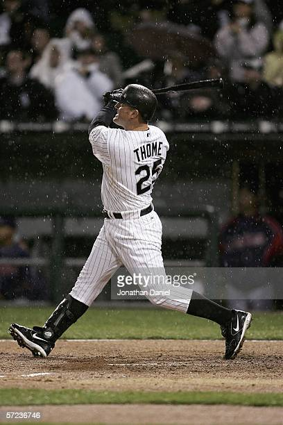 Jim Thome of the Chicago White Sox hits his first home run of the season a tworun shot in the fourth inning against the Cleveland Indians during the...