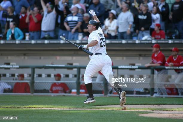 Jim Thome of the Chicago White Sox reacts after hitting his 500th career home run a walk off home run winning the game off of Dustin Moseley during...