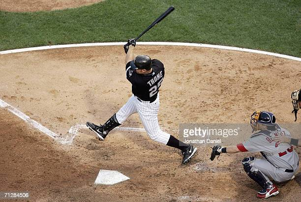 Jim Thome of the Chicago White Sox swings at the pitch during the game against the St Louis Cardinals on June 20 2006 at US Cellular Field in Chicago...