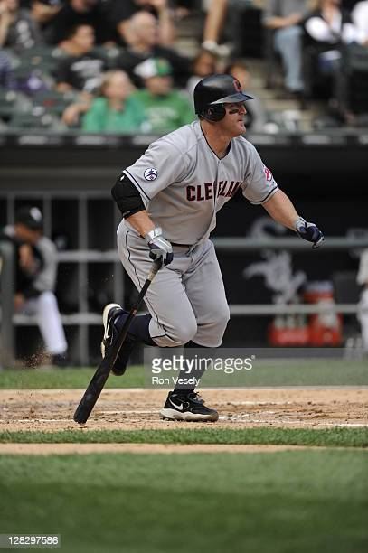Jim Thome of the Cleveland Indians bats against the Chicago White Sox on September 10 2011 at US Cellular Field in Chicago Illinois The White Sox...