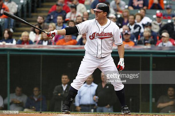 Jim Thome of the Cleveland Indians bats against the Detroit Tigers during the second inning of their game on September 7 2011 at Progressive Field in...