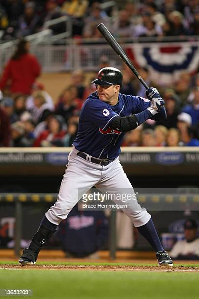 Jim Thome of the Cleveland Indians bats against the Minnesota Twins on September 16 2011 at Target Field in Minneapolis Minnesota The Indians...