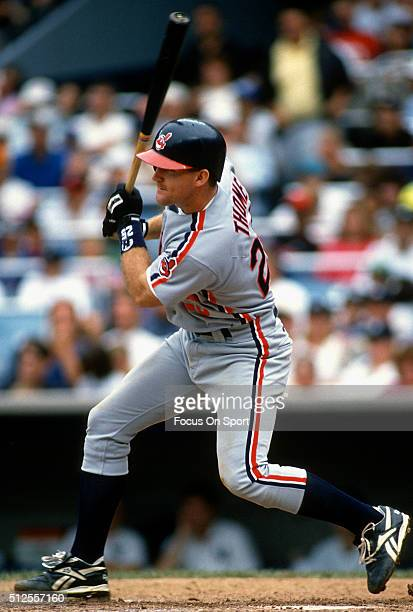 Jim Thome of the Cleveland Indians bats against the New York Yankees during a Major League Baseball game circa 1993 at Yankee Stadium in the Bronx...