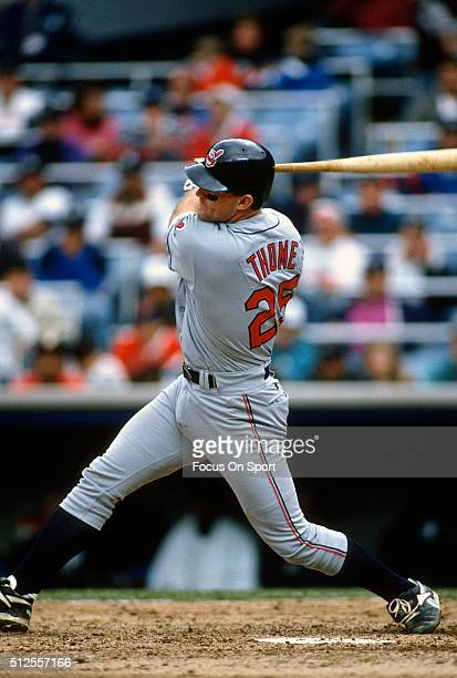 Jim Thome of the Cleveland Indians bats against the New York Yankees during a Major League Baseball game circa 1994 at Yankee Stadium in the Bronx...