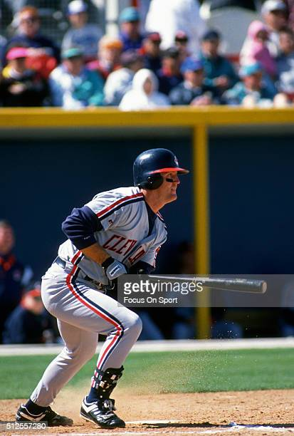 Jim Thome of the Cleveland Indians bats during a Major League Baseball spring training game circa 1993 Thome played for the Indians from 19912002 and...