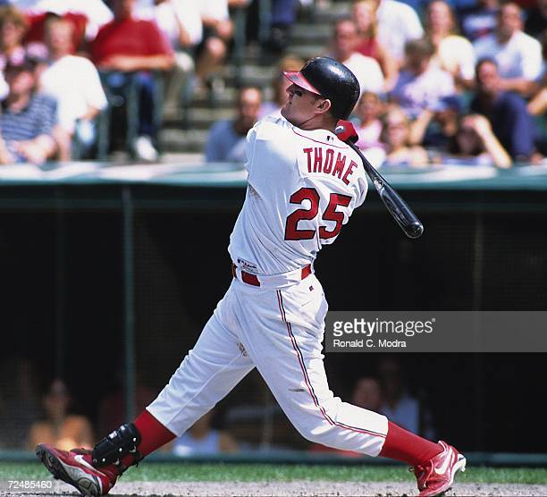 Jim Thome of the Cleveland Indians batting in 1995 in Cleveland, Ohio.