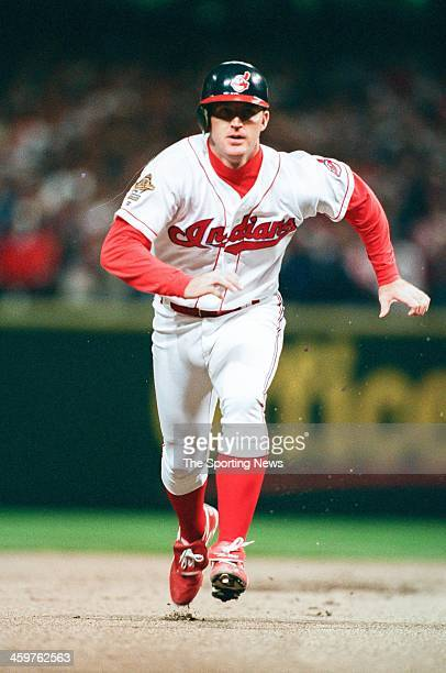 Jim Thome of the Cleveland Indians during Game Five of the World Series against the Atlanta Braves on October 26 1995 at Jacobs Field in Cleveland...