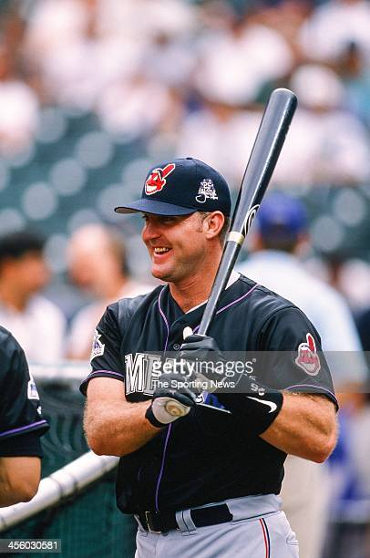 Jim Thome of the Cleveland Indians during the All-Star Game on July 7, 1998 at Coors Field in Denver, Colorado.