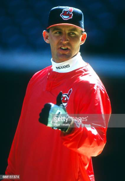 Jim Thome of the Cleveland Indians looks on during an MLB game at Jacobs Field in Cleveland Ohio Thome played for the Indians from 19912002