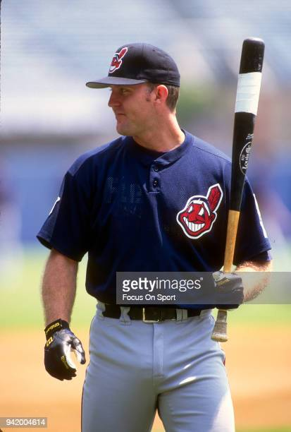 Jim Thome of the Cleveland Indians looks on during batting practice prior to the start of a Major League Baseball game against the New York Yankees...