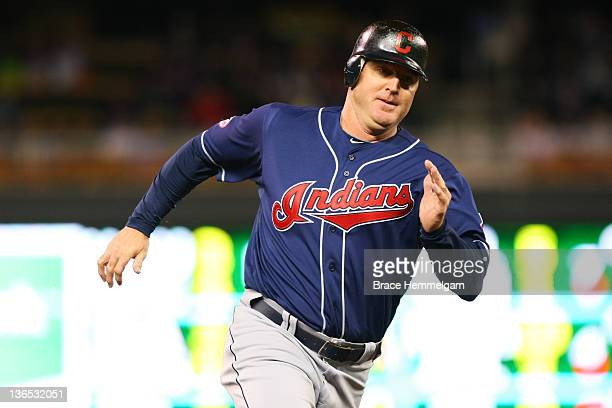 Jim Thome of the Cleveland Indians runs against the Minnesota Twins on September 16 2011 at Target Field in Minneapolis Minnesota The Indians...