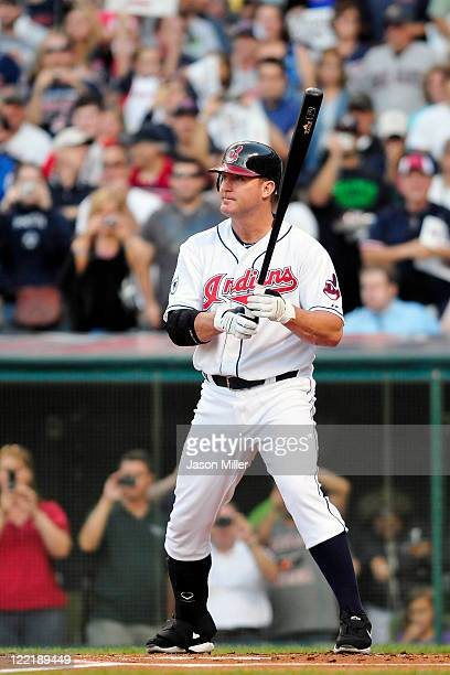 Jim Thome of the Cleveland Indians steps to the plate for his first at bat for the Cleveland Indians during the second inning against the Kansas City...