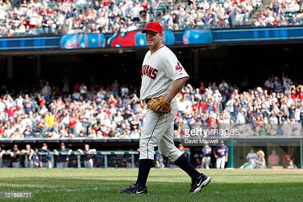 Jim Thome of the Cleveland Indians takes the field to play one pitch at third base against the Minnesota Twins during the ninth inning of their game...